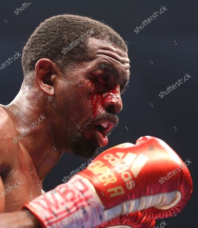 Jamel Herring of the US in action against Carl Frampton of Northern Ireland during the D4G Promotions' Legacy Fight Night Boxing match in the Gulf emirate of Dubai, United Arab Emirates, 03 April 2021.