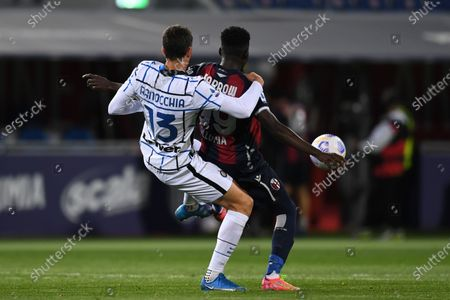 "Musa Barrow (Bologna)Andrea Ranocchia (Inter)       during the Italian ""Serie A"" match between Bologna 0-1 Inter  at  Renato Dall Ara Stadium in Bologna, Italy."