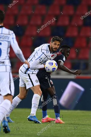 "Andrea Ranocchia (Inter)Musa Barrow (Bologna)       during the Italian ""Serie A"" match between Bologna 0-1 Inter  at  Renato Dall Ara Stadium in Bologna, Italy."