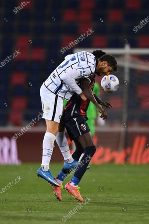 "Stock Image of Andrea Ranocchia (Inter)Musa Barrow (Bologna)         during the Italian ""Serie A"" match between Bologna 0-1 Inter  at  Renato Dall Ara Stadium in Bologna, Italy."