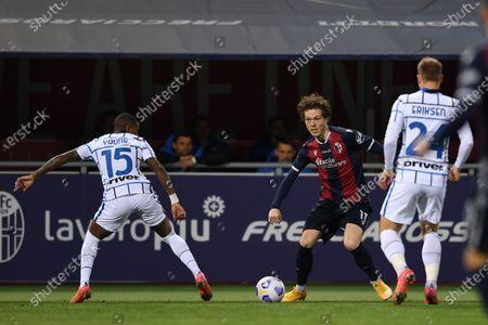 "Ashley Young (Inter)Andreas Skov Olsen (Bologna)Christian Eriksen (Inter)       during the Italian ""Serie A"" match between Bologna 0-1 Inter  at  Renato Dall Ara Stadium in Bologna, Italy."