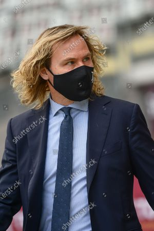 Pavel Nedved of Juventus FC during the Serie A football match between Torino FC and Juventus. Sporting stadiums around Italy remain under strict restrictions due to the Coronavirus Pandemic as Government social distancing laws prohibit fans inside venues resulting in games being played behind closed doors.  The match ended 2-2