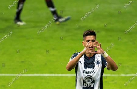 Maximiliano Meza of Rayados de Monterrey celebrates a goal against San Luis during a match of the Guard1anes Clausura 2021 Tournament at the BBVA stadium in Monterrey, Mexico, 03 April 2021.