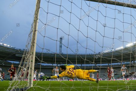Salvatore Sirigu of Torino FC  (view from remote camera) during the Serie A football match between Torino FC and Juventus FC at Olympic Grande Torino Stadium on April 03, 2021 in Turin, Italy. Final result: 2-2