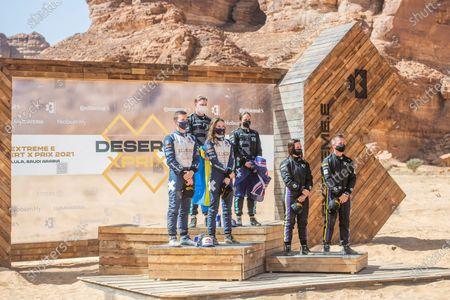 Catie Munnings (GBR)/Timmy Hansen (SWE), Andretti United Extreme E Molly Taylor (AUS)/Johan Kristoffersson (SWE), Rosberg X Racing Cristina Gutierrez (ESP)/Sebastien Loeb (FRA), X44 during the 2021 Extreme E Desert X Prix