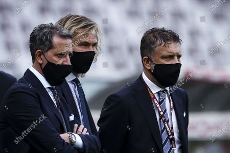 Juventus director Fabio Paratici and Juventus vice president Pavel Nedved look on during the Serie A football match n.29 TORINO - JUVENTUS on April 03, 2021 at the Stadio Olimpico Grande Torino in Turin, Piedmont, Italy. Final result: Torino-Juventus 2-2.