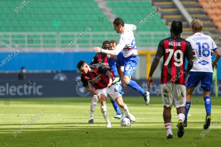 Stock Picture of Ismal Bennacer of AC Milan and Antonio Candreva of UC Sampdoria during the Serie A football match between AC Milan and UC Sampdoria at Giuseppe Meazza Stadium on April 03, 2021 in Milan, Italy.Final result: 1-1