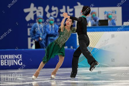 Chinese figure skaters Yin Shanjie and Yang Shirui perform their Ice Dance Free Dance during a test event for the 2022 Beijing Winter Olympics at the Capital Indoor Stadium in Beijing, . The organizers of the 2022 Beijing Winter Olympics has started 10 days of testing for several sport events in five different indoor venues from April 1-10, becomes the first city to hold both the Winter and Summer Olympics