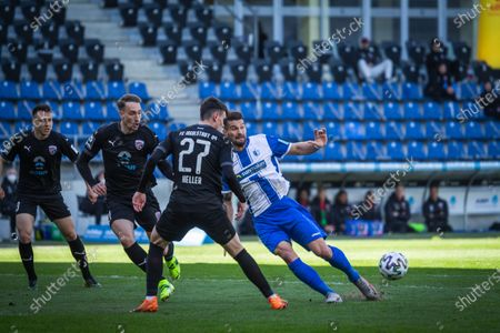 (from left to right) Dominik Franke, Tobias Schroeck and Thomas Keller of Ingolstadt and Kai Bruenker of Magdeburg vie for the ball during the 3. Liga match between 1. FC Magdeburg and FC Ingolstadt 04 at MDCC-Arena on April 03, 2021 in Magdeburg, Germany.