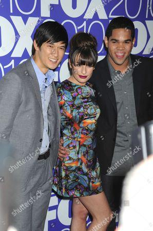 Harry Shum Jr., Lea Michele and Dijon Talton