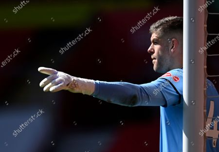 Southampton's goalkeeper Fraser Forster reacts during the English Premier League soccer match between Southampton and Burnley at St. Mary's Stadium in Southampton, England