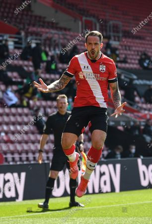 Stock Picture of Danny Ings of Southampton celebrates after scoring a goal during the English Premier League soccer match between Southampton FC and Burnley FC in Southampton, Britain, 04 April 2021.
