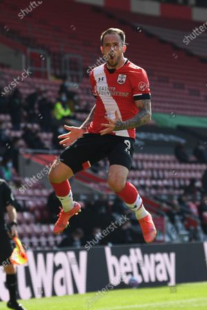 Danny Ings of Southampton celebrates after scoring a goal during the English Premier League soccer match between Southampton FC and Burnley FC in Southampton, Britain, 04 April 2021.