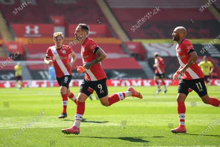 Stock Image of Danny Ings (C) of Southampton celebrates after scoring a goal during the English Premier League soccer match between Southampton FC and Burnley FC in Southampton, Britain, 04 April 2021.
