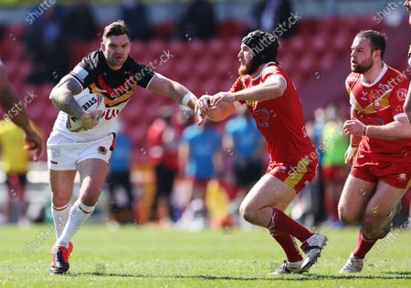 Stock Image of Bradford Bulls' Danny Brough in action with Sheffield Eagles' Greg Burns