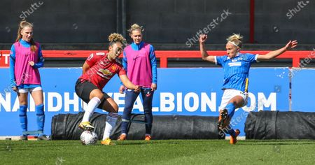 Lauren James (Manchester United 16) fake shots outside the box during the Barclays FA Womens Super League game between Brighton & Hove Albion and Manchester United at The Peopleâ€s Pension Stadium in Crawley.