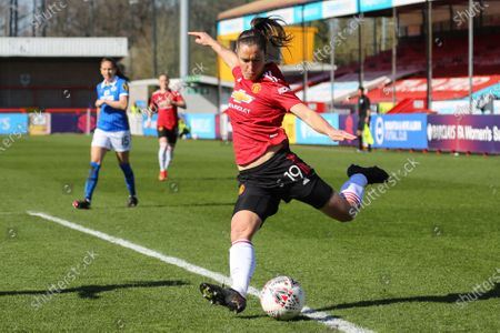 Stock Picture of Jane Goldman (Manchester United 19) delivers cross during the Barclays FA Womens Super League game between Brighton & Hove Albion and Manchester United at The Peopleâ€s Pension Stadium in Crawley.