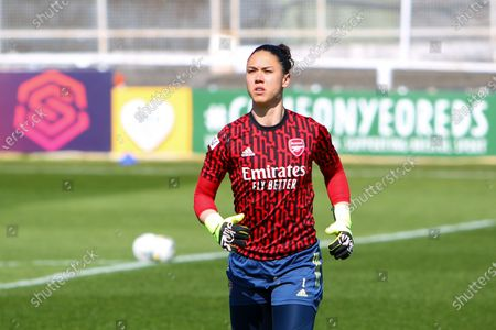 Manuela Zinsberger (1 Arsenal) during warm up prior to the Barclays FA Womens Super League game between Bristol City and Arsenal at Twerton Park in Bath, England.