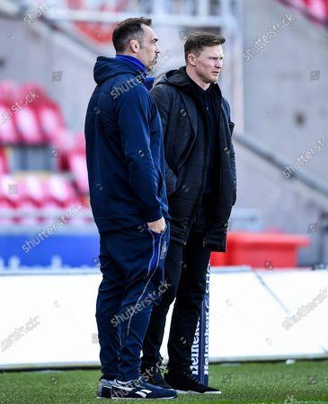 Scarlets vs Sale Sharks. Sale Sharks Director of Rugby Alex Sanderson with Chris Ashton