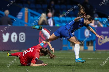 Harriet Scott (#3 Birmingham City) brings down Fran Kirby (#14 Chelsea) during the FA Barclays Womens Super League game between Chelsea and Birmingham City at Kingsmeadow in London, England.