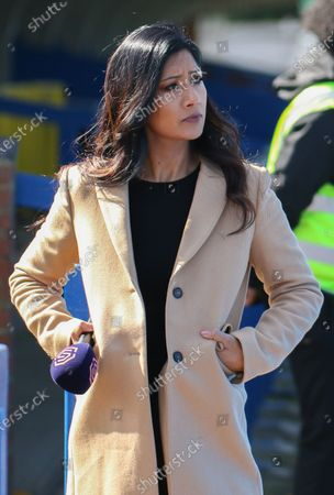 BBC and BT Sports presenter Reshmin Chowdhury during the FA Barclays Womens Super League game between Chelsea and Birmingham City at Kingsmeadow in London, England.