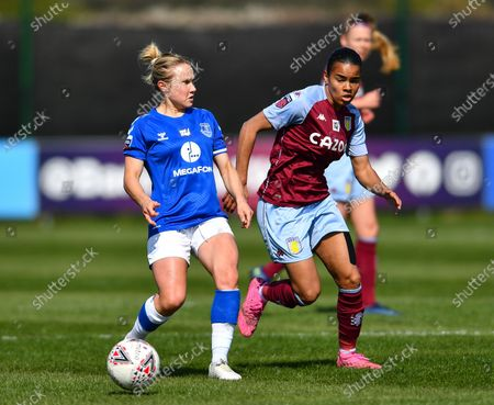 Izzy Christiansen (#8 Everton is pressed by Shania Hayles (#22 Aston Villa)