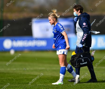 Izzy Christiansen (#8 Everton) leaves the pitch injured