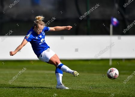 Izzy Christiansen (#8 Everton) takes a penalty and scores her sides second goal