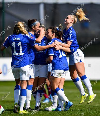 Everton celebrate Izzy Christiansen (#8 Everton) second goal for the side