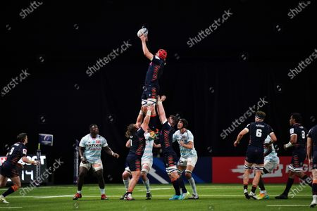 Stock Picture of Grant Gilchrist  - Edinburgh lock wins a line out.