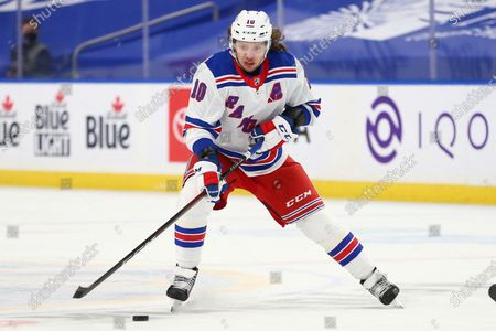 New York Rangers forward Artemi Panarin (10) skates during the first period of an NHL hockey game against the Buffalo Sabres, in Buffalo, N.Y