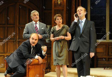 'Yes, Prime Minister' - Henry Goodman (Sir Humphrey Appleby), David Haig (Jim Hacker), Emily Joyce, (Claire Sutton) and Jonathan Slinger (Bernard)