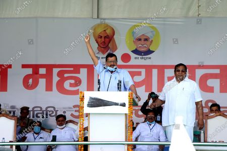 Editorial picture of Delhi Chief Minister Arvind Kejriwal Addresses A Kisan Mahapanchayat In Jind, HAryana, India - 04 Apr 2021