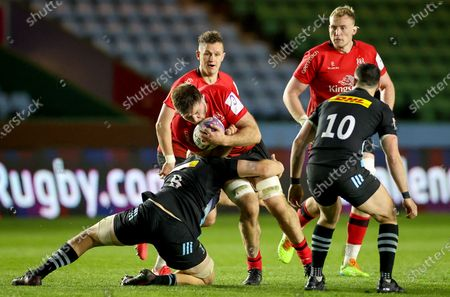 Harlequins vs Ulster. Ulster's Alan O'Connor is tackled by Tom Lawday of Harlequins