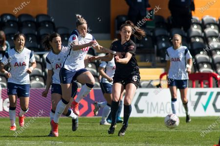 Alanna Kennedy (Tottenham) and Caroline Weir (Manchester City) battle for the ball during the 2020-21 FA Women's Super League fixture between Tottenham Hotspur and Manchester City at The Hive.