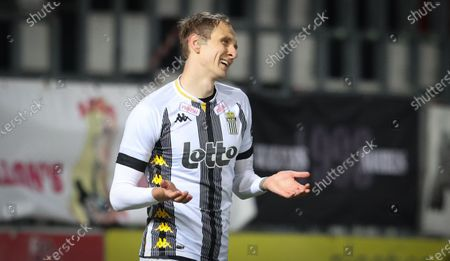 Stock Picture of Charleroi's Lukasz Teodorczyk looks dejected during a soccer match between Sporting Charleroi and Royal Excel Mouscron, Sunday 04 April 2021 in Charleroi, on day 32 of the 'Jupiler Pro League' first division of the Belgian championship.