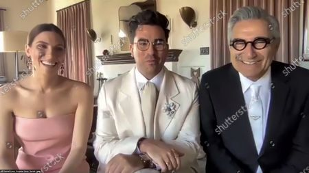 Stock Image of Sarah Levy, Daniel Levy and Eugene Levy - Outstanding Performance by an Ensemble in a Comedy Series - Schitt's Creek