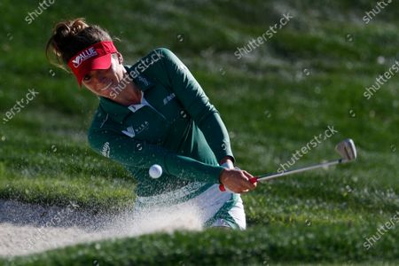 Gaby Lopez of Mexico hits from a bunker to the 17th hole during the final round of the LPGA's ANA Inspiration golf tournament at Mission Hills Country Club, in Rancho Mirage, Calif