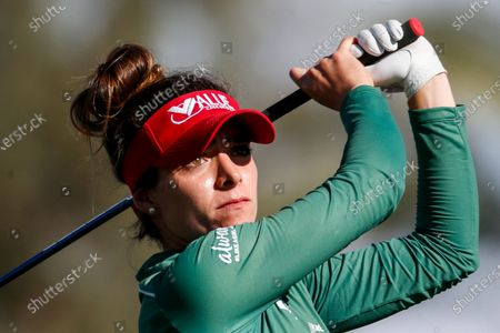 Gaby Lopez of Mexico watches her shot from the 16th tee during the final round of the LPGA's ANA Inspiration golf tournament at Mission Hills Country Club, in Rancho Mirage, Calif