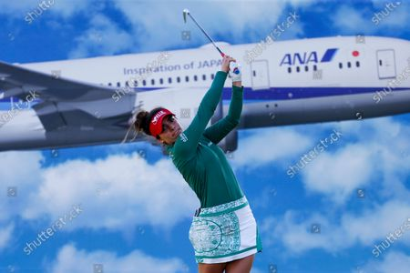 Gaby Lopez of Mexico, watches her shot from the 17th tee during the final round of the LPGA's ANA Inspiration golf tournament at Mission Hills Country Club, in Rancho Mirage, Calif