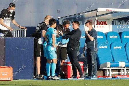 "(L-R) Gaku Shibasaki, Asier Garitano (Leganes) - Football / Soccer : Spanish ""La Liga Smartbank"" match between CD Leganes 2-1 CE Sabadell FC at the Estadio Municipal de Butarque in Leganes, Spain."