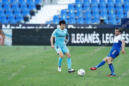 "(L-R) Gaku Shibasaki (Leganes), Oscar Rubio (Sabadell) - Football / Soccer : Spanish ""La Liga Smartbank"" match between CD Leganes 2-1 CE Sabadell FC at the Estadio Municipal de Butarque in Leganes, Spain."
