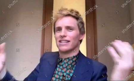 """In this image from video, Eddie Redmayne speaks immediately following the announcement of his Screen Actors Guild Award win for outstanding performance by a cast in a motion picture for """"The Trial of The Chicago 7"""" on . The 27th annual SAG Awards airs Sunday, April 4"""