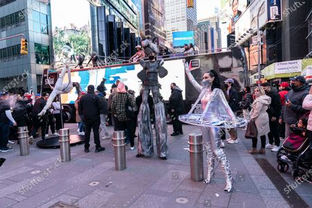 BusinessFunding.com company held party launch on Times Square with performances by artists and advertisement on huge billboard. Company does lending to small businesses. Naked Cowboy, fixture of Times Square was also performing.