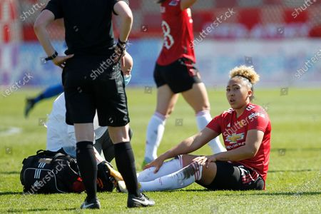 Lauren James of Manchester United Women receives treatment during Barclays FA Women Super League match between Brighton and Hove Albion Women and Manchester United Women at The People's Pension Stadium on 04th April  , 2021 in Crawley, England