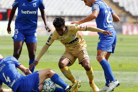 Angel Gomes surrounded by opposition during the game for Liga NOS between Belenenses SAD and Boavista FC, at Estadio Nacional, Lisboa, Portugal, 04, April, 2021