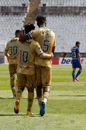 Stock Image of Angel Gomes and Chidozie Awaziem celebrate together during the game for Liga NOS between Belenenses SAD and Boavista FC, at Estadio Nacional, Lisboa, Portugal, 04, April, 2021
