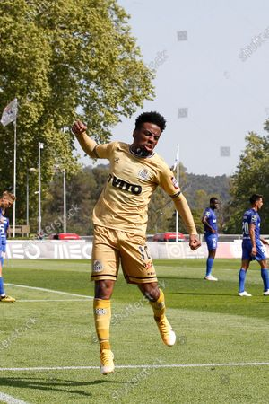 Stock Picture of Angel Gomes celebrates his goal during the game for Liga NOS between Belenenses SAD and Boavista FC, at Estadio Nacional, Lisboa, Portugal, 04, April, 2021