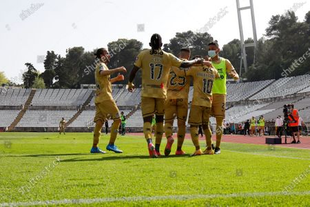 Angel Gomes celebrates his goal with teammates during the game for Liga NOS between Belenenses SAD and Boavista FC, at Estadio Nacional, Lisboa, Portugal, 04, April, 2021