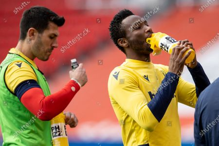 John Obi Mikel of Stoke City takes a during during the warm up; Bet365 Stadium, Stoke, Staffordshire, England; English Football League Championship Football, Stoke City versus Millwall.